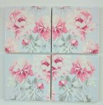 4 Ceramic Coasters in Laura Ashley Cyclamen Beatrice